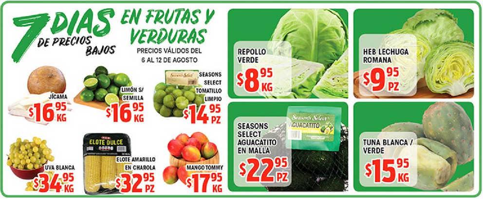 Frutas y Verduras HEB del 6 al 8 de agosto del 2019