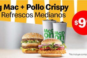 McDonalds: Cupón Big Mac + Pollo Crispy + 2 Refrescos Medianos a $99