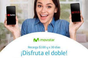 Movistar: 2X1 en MB + redes sociales + Netflix y Youtube con 1000MB