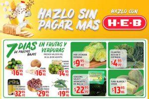HEB frutas y verduras del 20 al 26 de agosto 2019