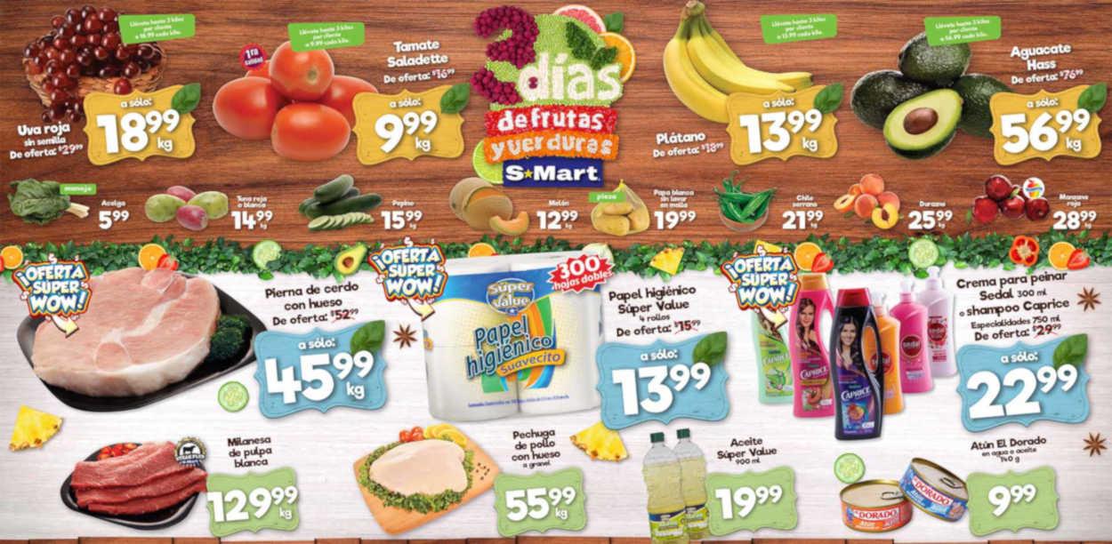 Ofertas S-Mart frutas y verduras del 13 al 15 de agosto 2019