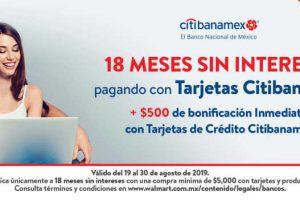 Walmart: 18 msi + 500 de bonificación con tarjetas Citibanamex