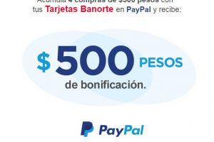 Banorte y PayPal: $500 de bonificación acumulando 4 compras de 500