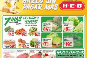 Frutas y Verduras HEB del 10 al 16 de septiembre 2019