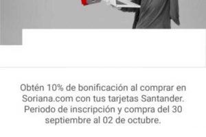 Soriana Online: 10% bonificación pagando con tarjetas Santander