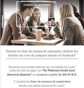 Starbucks: 2 bebidas gratis con American Express fines de semana