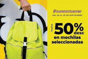 Todomoda: hasta 50% de descuento en mochilas del 26 al 29 de septiembre 2019