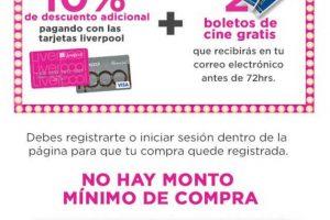 Liverpool: Boletos de Cinépolis Gratis + 10% de descuento en primer compra