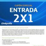 Cupón de 2x1 en Cinépolis todo el mes octubre 2019 gracias a Movistar