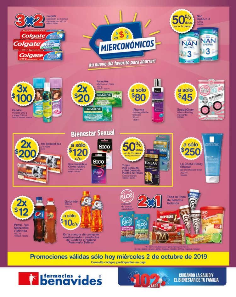 Farmacias Benavides: Ofertas y promociones Mierconómicos 2 de octubre 2019