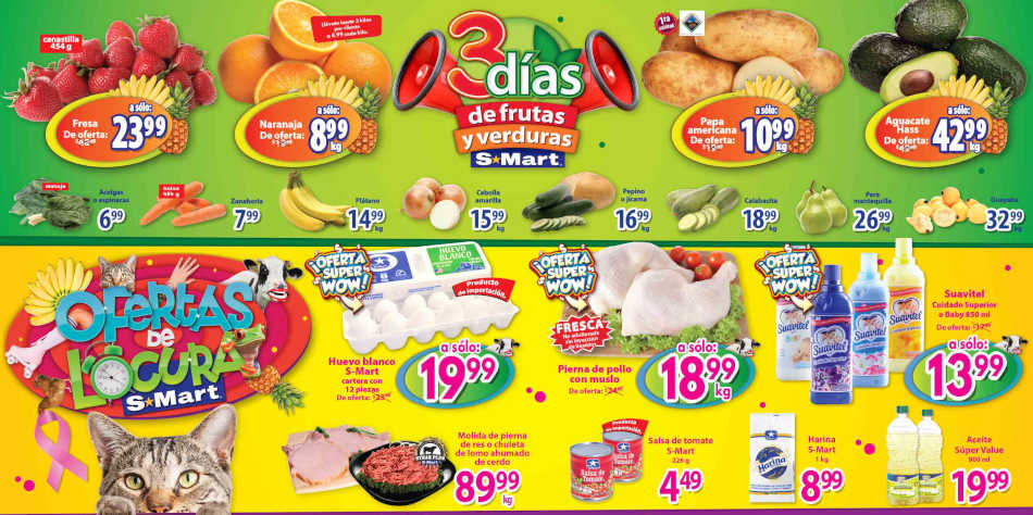 Frutas y Verduras S-Mart del 22 al 24 de octubre 2019