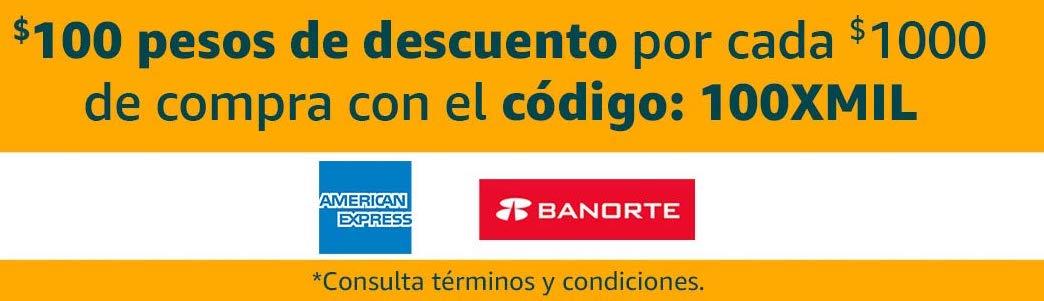 Amazon México: Cupón $100 de descuento con tarjetas Amex y Banorte