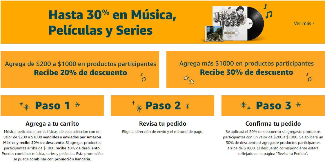 Amazon México: Hasta 30% de descuento en música, películas y series