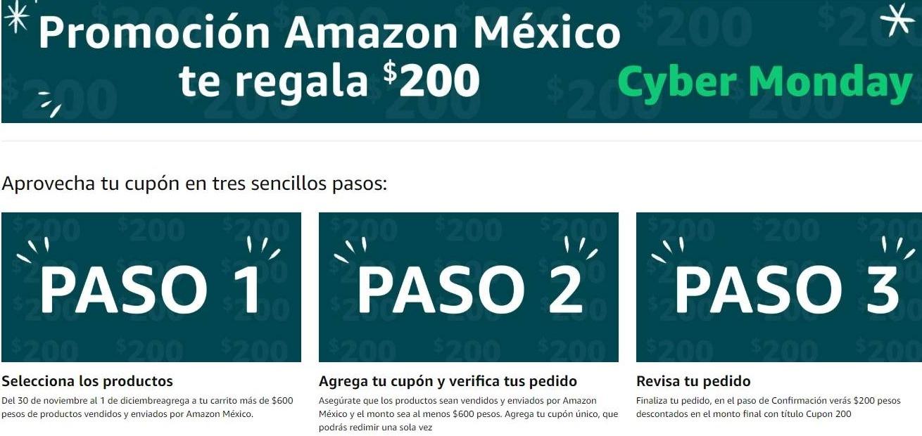 Amazon México – Cyber Monday 2019 / Cupón de $200 de descuento