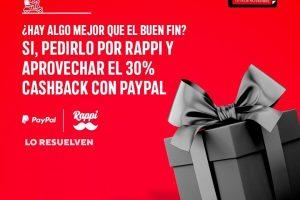 Promociones Rappi Buen Fin 2019: 30% de cashback con PayPal
