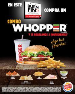 Promociones Burger King Buen Fin 2019: 3×2 en Whopper y 2 ingredientes gratis