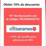 Amazon El Mejor Martes: Cupón 10% de descuento + 10% con Citibanamex