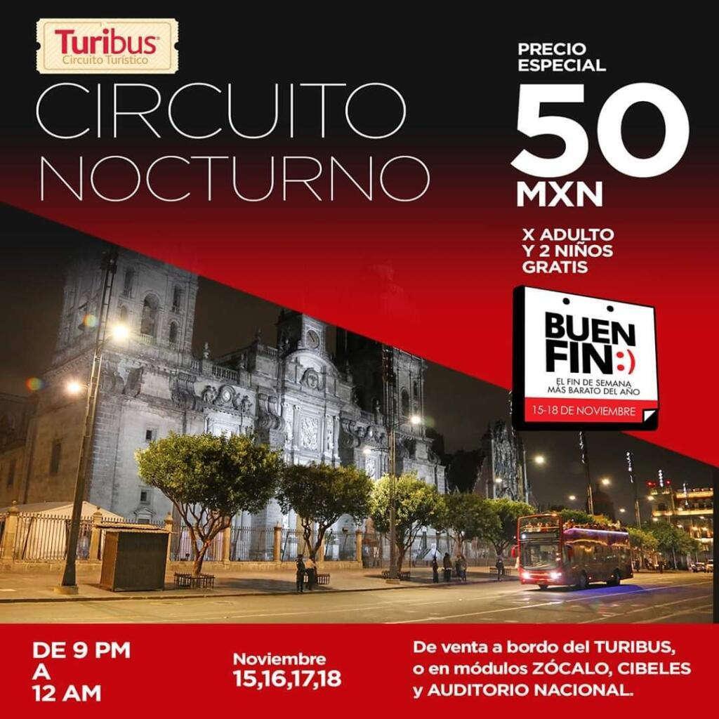 Promoción Turibus Buen Fin 2019: Circuito nocturno a $50 + 2 niños gratis