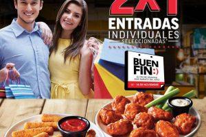 Promociones Applebee's El Buen Fin 2019: 2×1 en entradas individuales