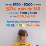 Promociones Telcel Recargas te dan 50% más de MB y Doble de MB
