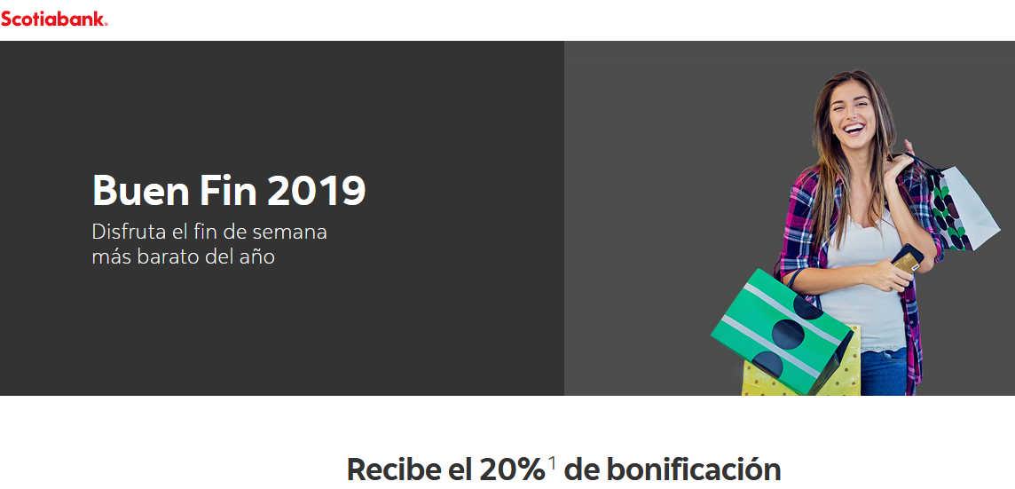 Scotiabank Buen Fin 2019: 20% de bonificación durante el buen fin