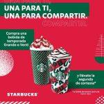Starbucks: 2x1 en bebidas de temporada tamaño Grande o Venti