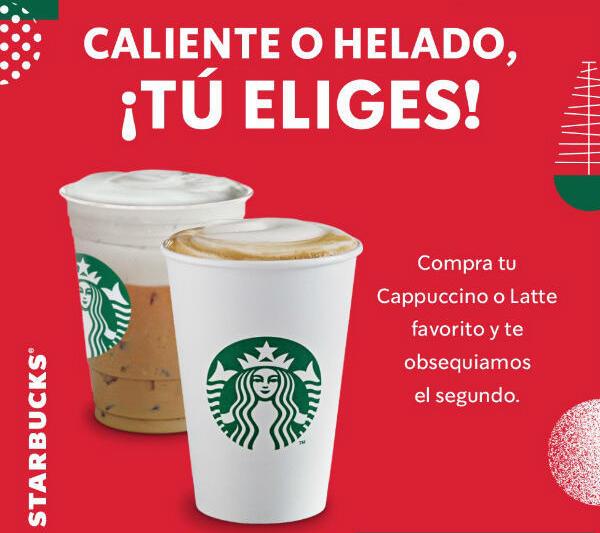 Promociones Starbucks: Cupones de 2×1 en latte o cappuccino