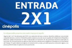 Promociones Cinépolis Cupón 2x1 todo el mes de Diciembre 2019