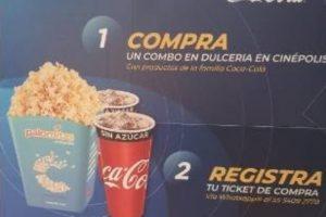 Promoción Cinépolis y Coca cola gana 2 boletos gratis y más regalos
