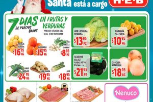 Frutas y Verduras HEB del 10 al 16 de diciembre del 2019