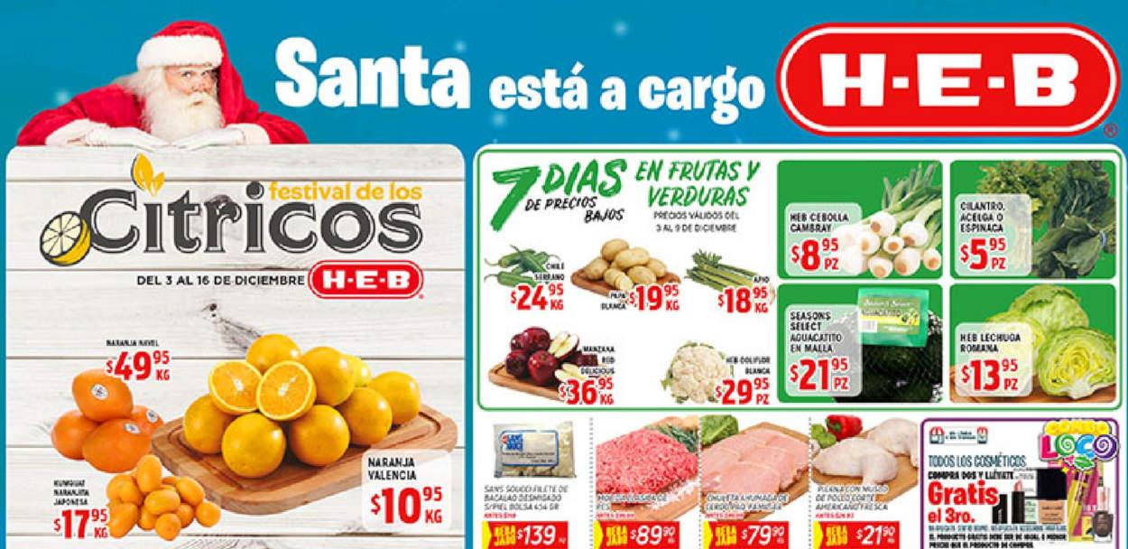 Ofertas HEB Frutas y Verduras del 3 al 9 de diciembre 2019