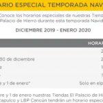 Palacio de Hierro - Horarios de Navidad 2019 y Año Nuevo 2020
