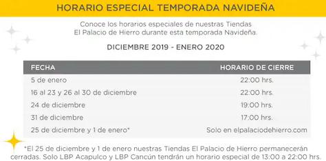 Palacio de Hierro – Horarios de Navidad 2019 y Año Nuevo 2020