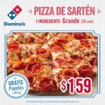 Domino's Pizza: Cupón de Pizza de Sarten grande + papotas por $159