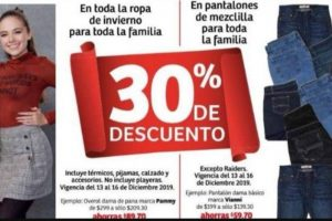 Soriana Hiper y Mega 30% de descuento en Pantalones de Mezclilla y Ropa de Invierno