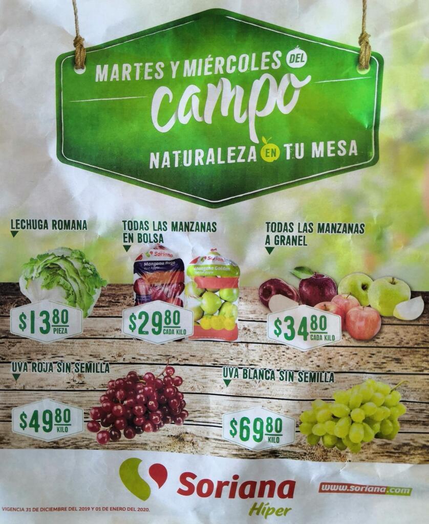 Soriana Martes y Miércoles del Campo 31 de diciembre 2019 y 1 de enero 2020