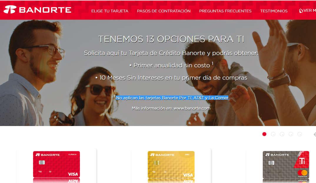 Banorte: Primer anualidad gratis + 10 MSI contratando tarjeta por internet
