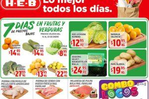 Frutas y Verduras HEB del 14 al 20 de Enero de 2020