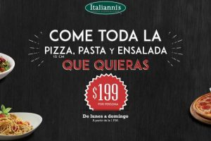 italianni's pizza Come toda la pizza, pasta y ensalada que quieras por $199