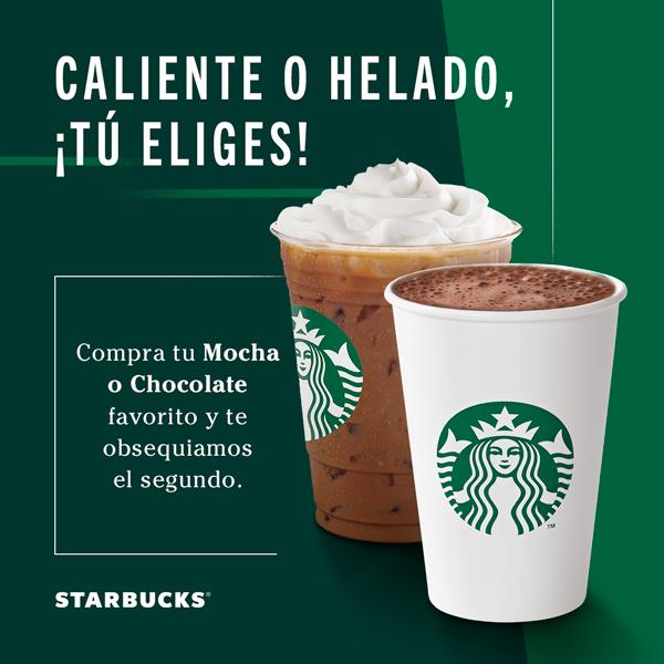 Starbucks: 2×1 en Mocha o Chocolate del 5 al 9 de Febrero 2020