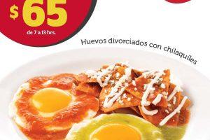 Vips: Desayuno Completo Huevos divorciados con chilaquiles a $65