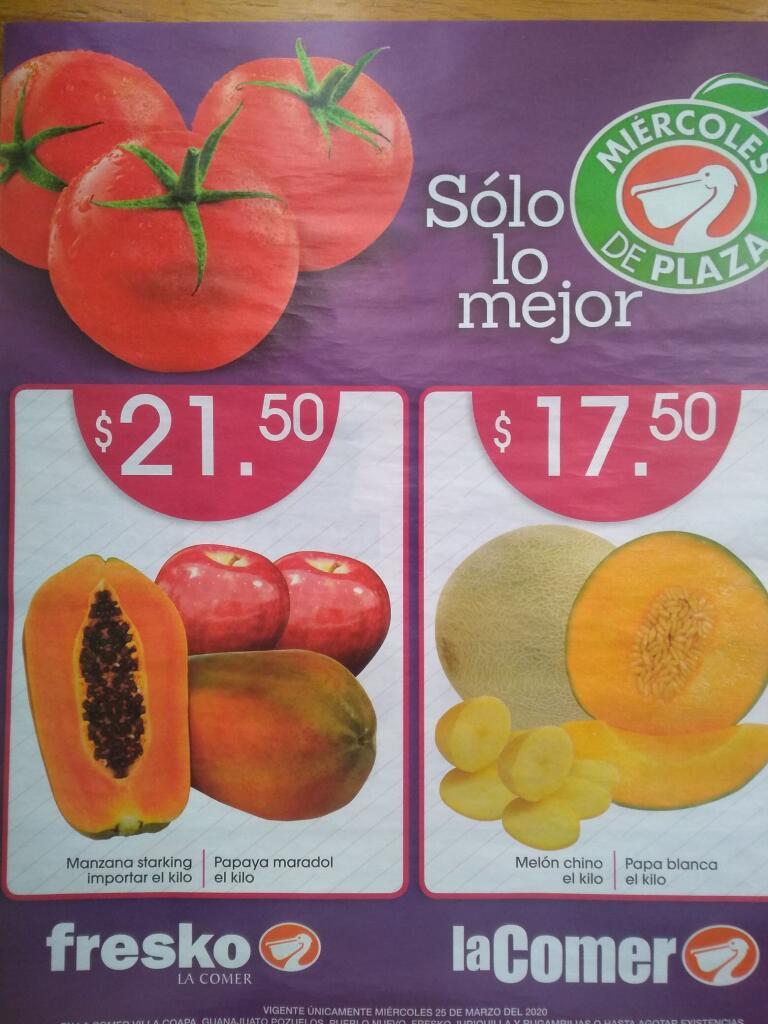 La Comer – Miércoles de Plaza Frutas y Verduras 25 de marzo 2020