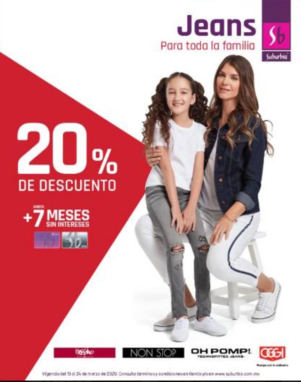 Suburbia – 20% de descuento + 7 msi en Jeans para toda la Familia