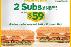 Subway: 2 Subs de Milanesa de Pollo por $59 pesos