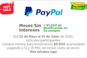 Bodega Aurrerá - Hot Sale 2020 / $1,000 de descuento con Paypal