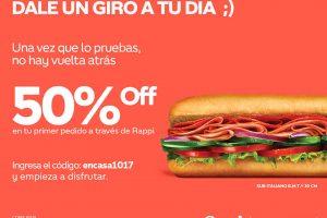 Subway: Cupón 50% de descuento en tu primer pedido a través de Rappi