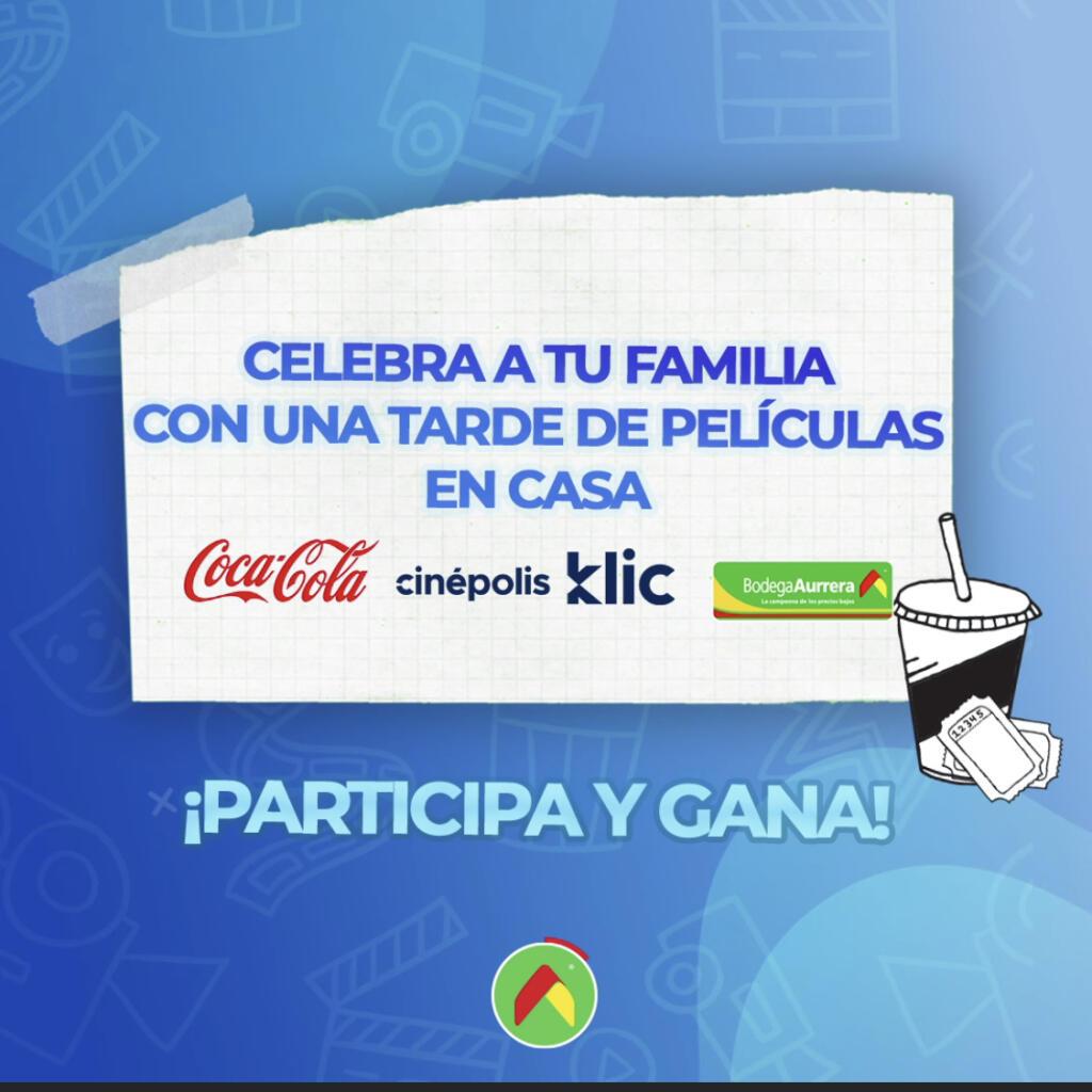 Bodega Aurrera – Compra Coca Cola y llévate 2 códigos gratis Cinepolis Klic
