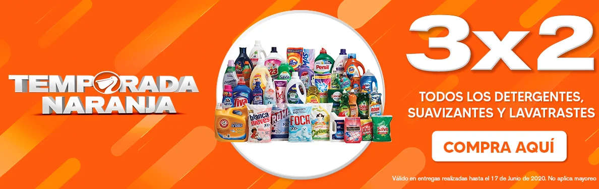 La Comer Temporada Naranja 2020: 3×2 en detergentes, suavizantes y lavatrastes