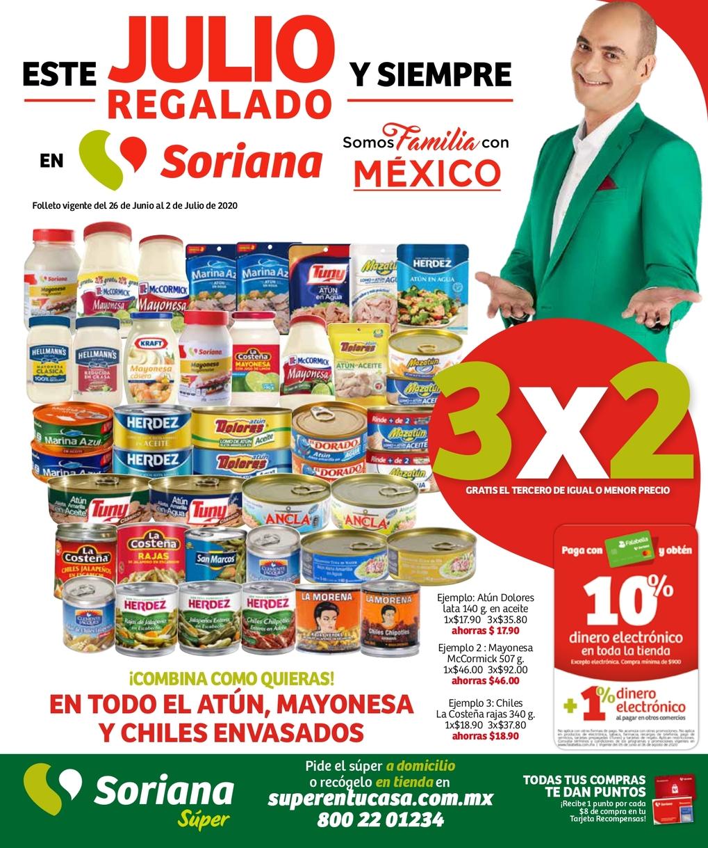 Soriana Super Folleto Julio Regalado 2020 del 26 de junio al 2 de julio
