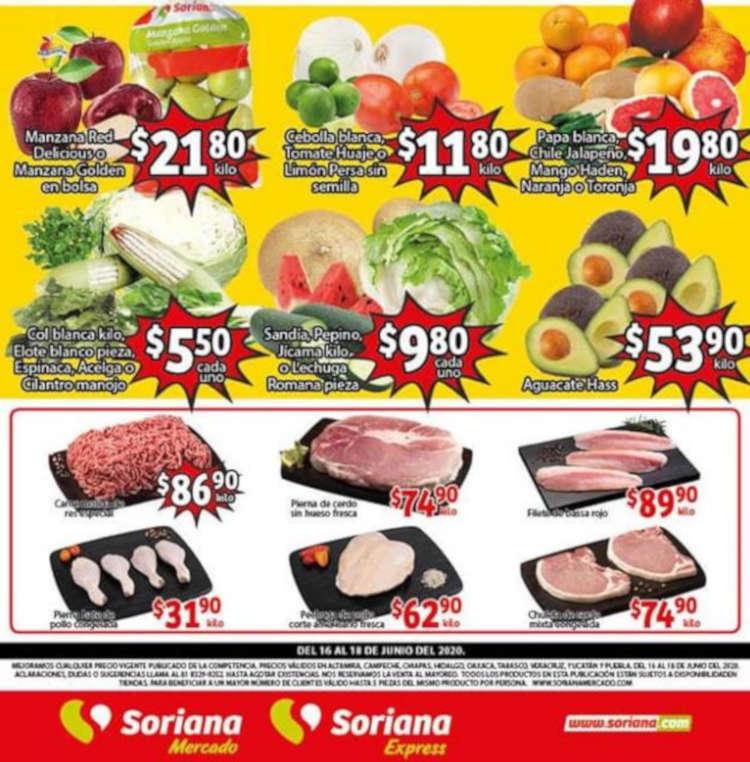 Folleto Soriana Mercado Frutas y Verduras del 16 al 18 de junio 2020